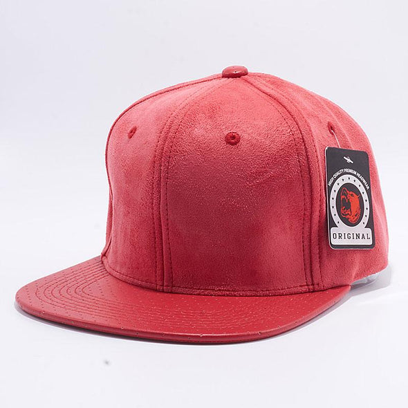 Pit Bull Suede Perforated Leather Snapback Hats Wholesale [Red]