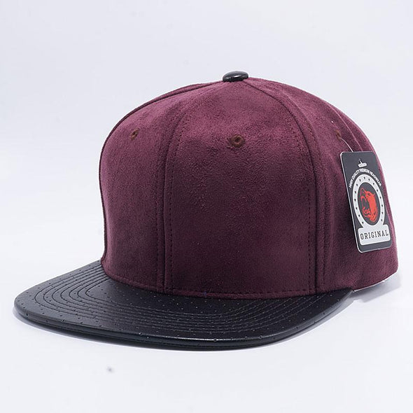 Pit Bull Suede Perforated Leather Snapback Hats Wholesale [Wine/Black]