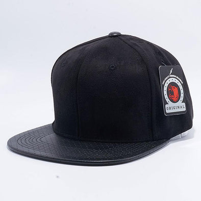 Pit Bull Suede Perforated Leather Snapback Hats Wholesale [Black]