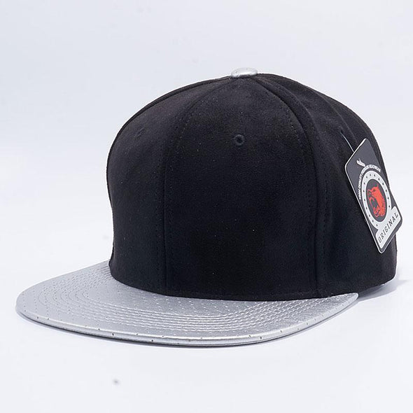 Pit Bull Suede Perforated Leather Snapback Hats Wholesale [Black/silver]
