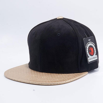 Pit Bull Suede Perforated Leather Snapback Hats Wholesale [Black/Gold]