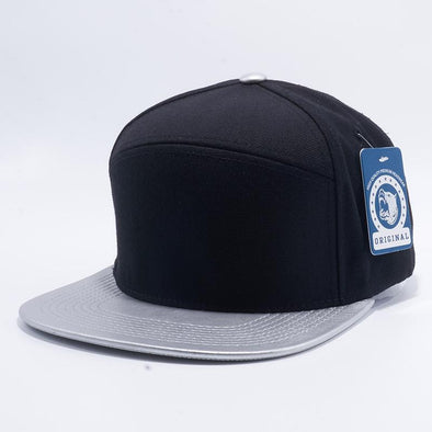 Pit Bull Premium Black and Silver Wool Blend Leather Visor Snapback Hat Cap Wholesale and Custom