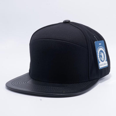 Pit Bull Premium Black Blend Leather Visor Snapback Hat Cap Wholesale and Custom.