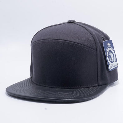 Pit Bull Premium Charcoal Grey and Black Blend Leather Visor Snapback Hat Cap Wholesale and Custom
