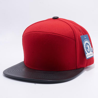 Pit Bull Premium Red and Black Blend Leather Visor Snapback Hat Cap Wholesale and Custom
