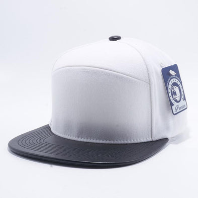 Pit Bull Premium White and Black Blend Leather Visor Snapback Hat Cap Wholesale and Custom.