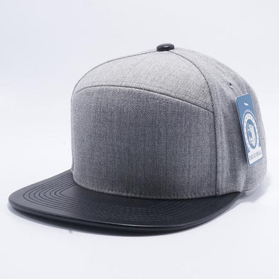 Pit Bull Premium Heather Grey and Black Wool Blend Leather Visor Snapback Hat Cap Wholesale and Custom