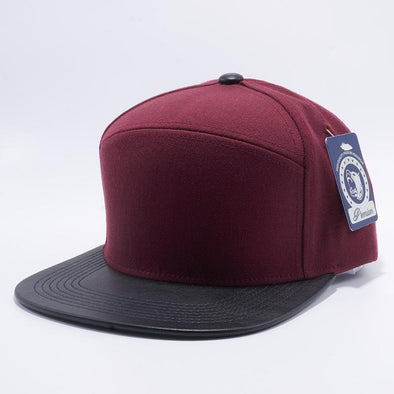 Maroon and Black Wool Blend Leather Visor Snapback Hat Cap Wholesale and Custom.