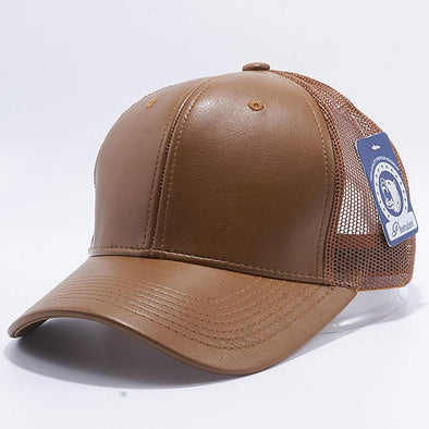Pit Bull Leather Trucker Hats Wholesale [Wheat]