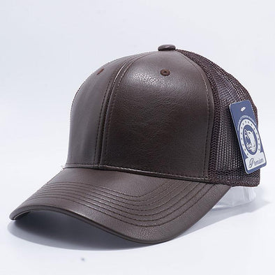 Pit Bull Leather Trucker Hats Wholesale [D.brown]