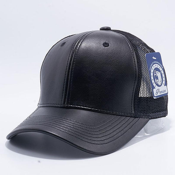 Pit Bull Leather Trucker Hats Wholesale [Black]