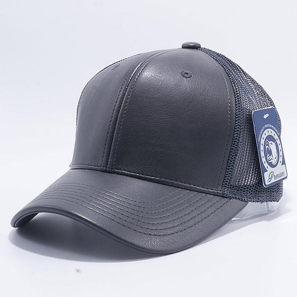 Pit Bull Leather Trucker Hats Wholesale [Charcoal]