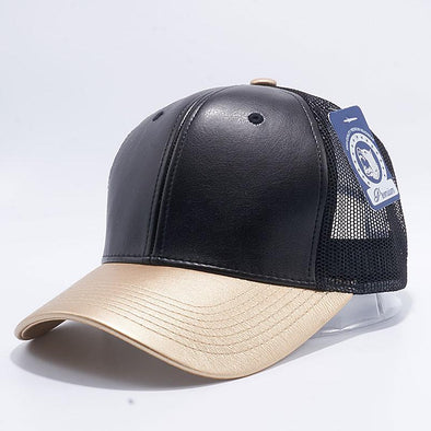 Pit Bull Leather Trucker Hats Wholesale [Black/Gold]