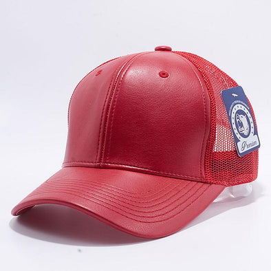 Pit Bull Leather Trucker Hats Wholesale [Red]