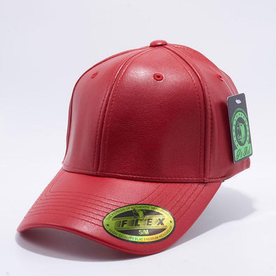 Pit Bull PB205 Red Leather Flex Fit Comfort Fit One Size Baseball Hats Wholesale