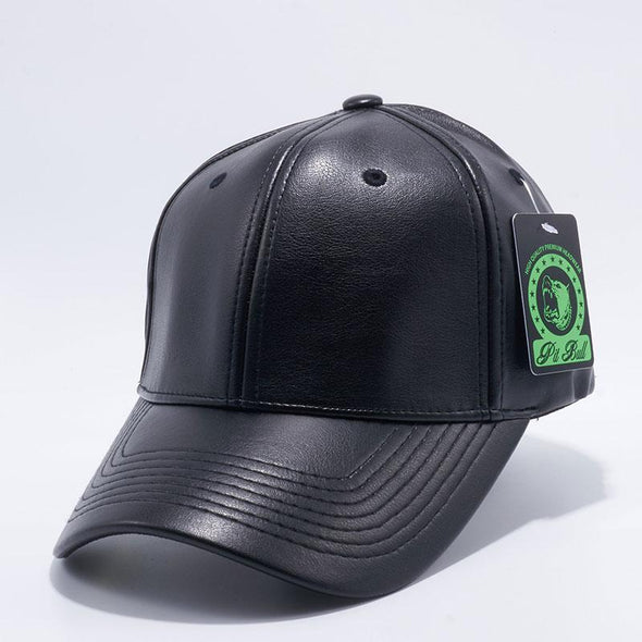 Pit Bull PB205 Black Leather Flex Fit Comfort Fit One Size Baseball Hats Wholesale