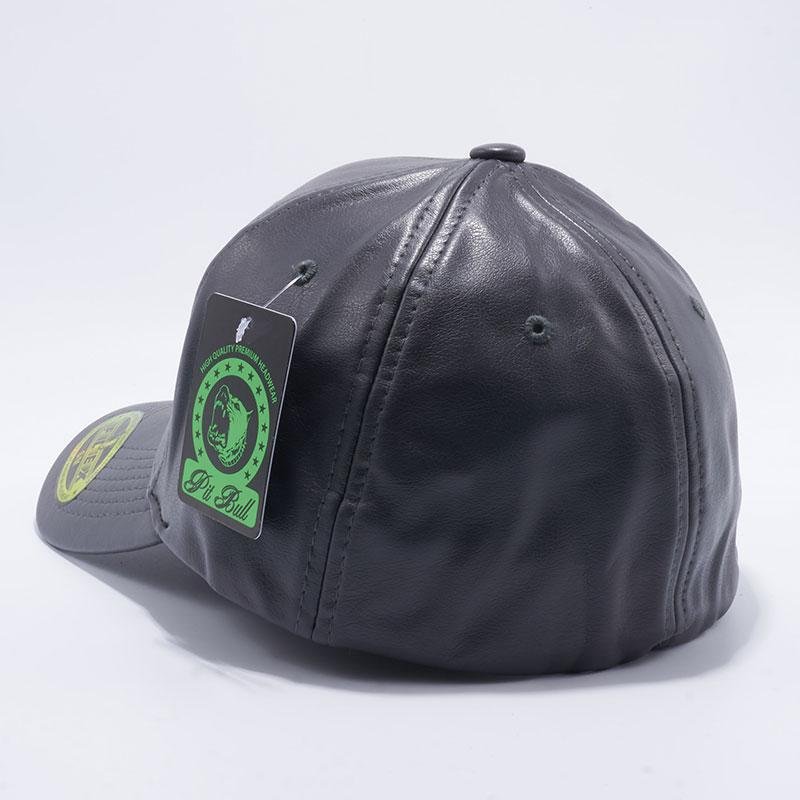 Pit Bull PB205 Leather Size Fitted Caps Wholesale  Charcoal  – Pit ... 160fb50992e3