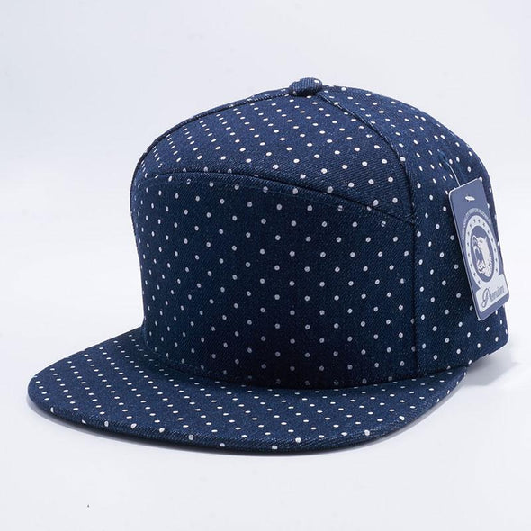 Pit Bull Polkadot Strapback Hats Wholesale [Denim/White]
