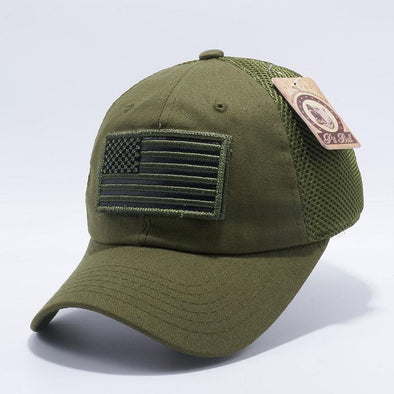 Olive Pit Bull DV557 US Flag Velcro Patch Micro Mesh Hats