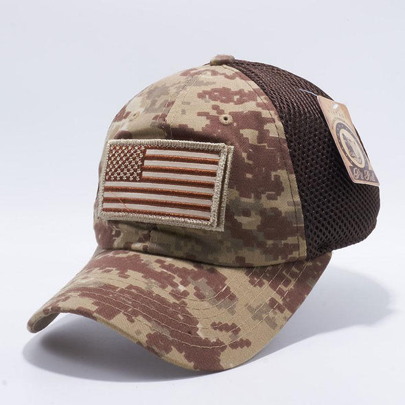 Pit Bull Dv557 Us Flag Velcro Patch Micro Mesh Hats [Desert D.camo] Exclusive