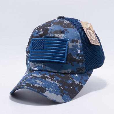 Navy Digital Camo Pit Bull DV557 US Flag Velcro Patch Micro Mesh Hats