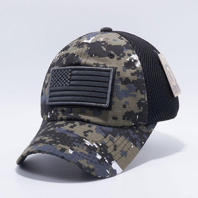Black D.Camo Pit Bull DV557 US Flag Velcro Patch Micro Mesh Hats