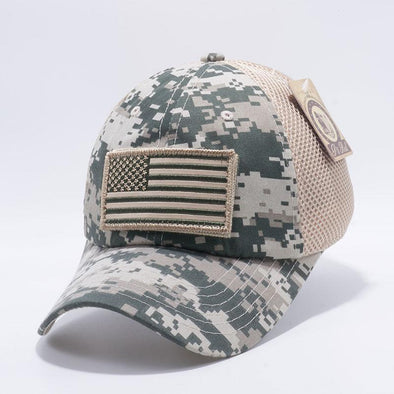 Digital Camo Pit Bull DV557 US Flag Velcro Patch Micro Mesh Hats