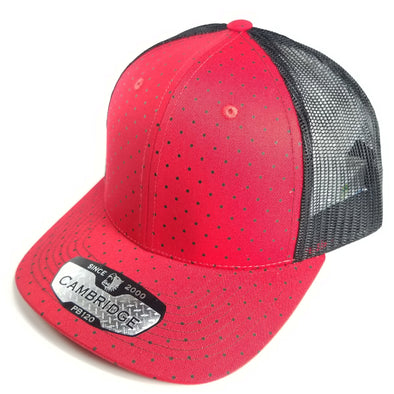 PB120C Pit Bull Polkadot 6 Panel Mesh Trucker Hats [Red/Black]