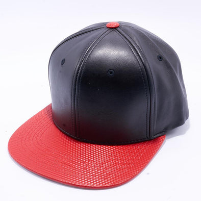 Pit Bull Cubic Leather Snapback Hats Wholesale [Black/red]