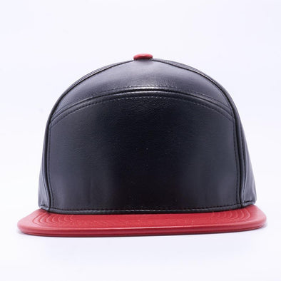 PIT BULL Blank Snapback Hats Wholesale, Custom Snapback Hats - Black Red Hybrid Leather Hats