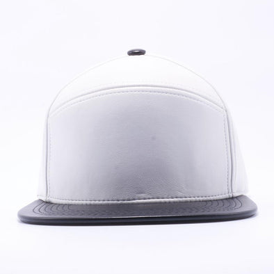 PIT BULL Blank Snapback Hats Wholesale, Custom Snapback Hats - White Black Hybrid Leather Hats