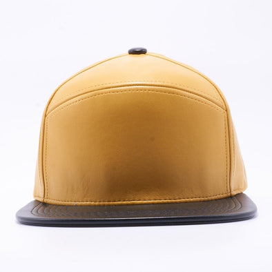 PIT BULL Blank Snapback Hats Wholesale, Custom Snapback Hats - Mustard Black Hybrid Leather Hats