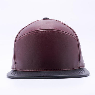 PIT BULL Blank Snapback Hats Wholesale, Custom Snapback Hats - Wine Black Hybrid Leather Hats