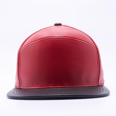 PIT BULL Blank Snapback Hats Wholesale, Custom Snapback Hats - Red Black Hybrid Leather Hats