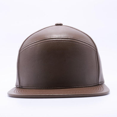 Blank Snapback Hats Wholesale, Custom Snapback Hats - Brown Hybrid Leather Hats