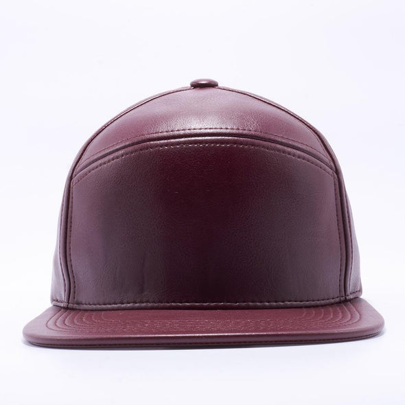 Blank Snapback Hats Wholesale, Custom Snapback Hats - Wine Hybrid Leather Hats