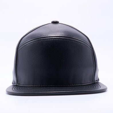 PIT BULL Blank Snapback Hats Wholesale, Custom Snapback Hats - Black Hybrid Leather Hats
