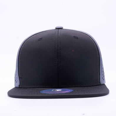 PIT BULL Blank Snapback Hats Wholesale, Custom Snapback Hats - Black Grey Perforated Snapback Hats