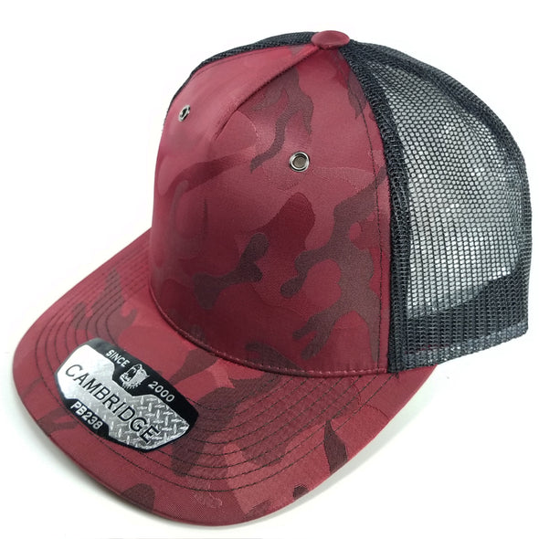 PB238 Pit Bull Cambridge 5 Panel Camo Trucker [Burgundy]