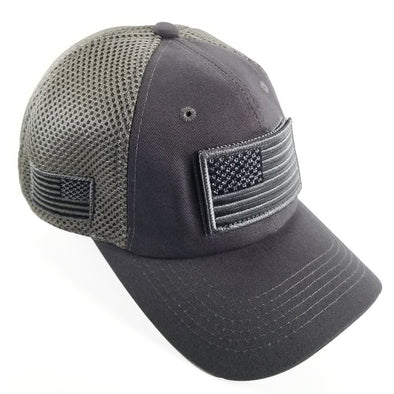 DV557  Pit Bull US Flag Velcro Patch Micro Mesh Hats [charcoal]