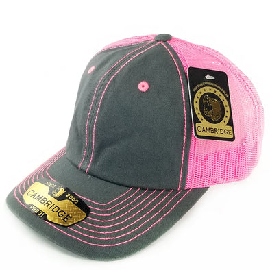 PB231 Pit Bull Cambridge Unstructured Dad Trucker Hat[Charcoal/N.Pink]