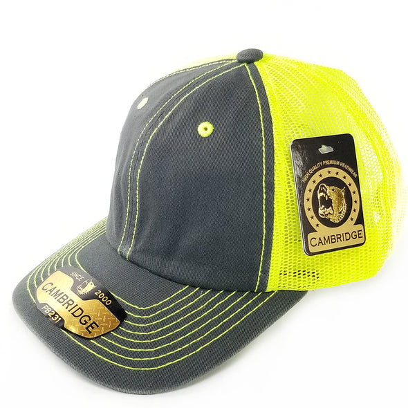 PB231 Pit Bull Cambridge Unstructured Dad Trucker Hat[Charcoal/N.Yellow]
