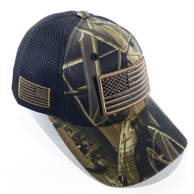 DV557  Pit Bull US Flag Velcro Patch Micro Mesh Hats [T.Camo]