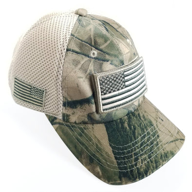 DV557  Pit Bull US Flag Velcro Patch Micro Mesh Hats [T.Camo1]