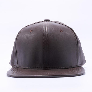 PIT BULL Dark Brown Leather Snapback Hats Wholesale