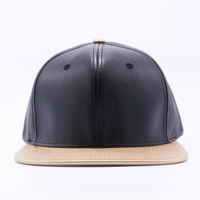 PIT BULL Black Gold Leather Snapback Hats Wholesale