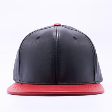 Pit Bull Leather Snapback Hats Wholesale [Black/red]