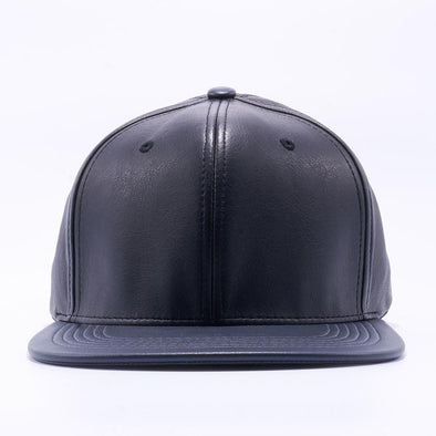 PIT BULL Black Charcoal Leather Snapback Hats Wholesale