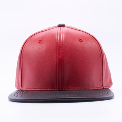 PIT BULL Red Black Leather Snapback Hats Wholesale