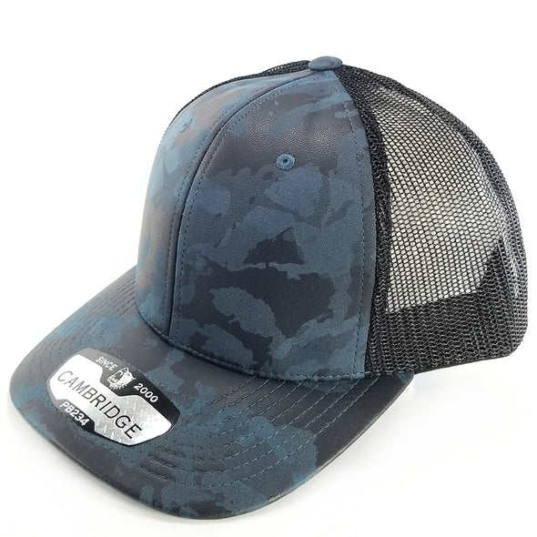 PB234 Pit Bull Cambridge Multi PU Mesh Trucker Hat [Navy/Black]